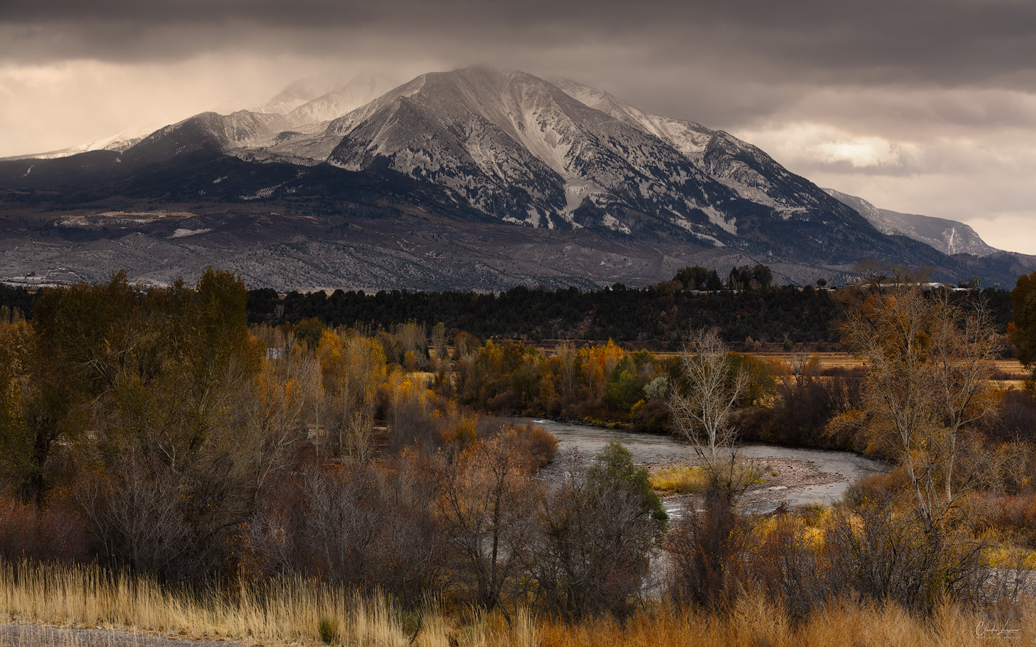 Mount Sopris covered in snow in Carbondale, Colorado.