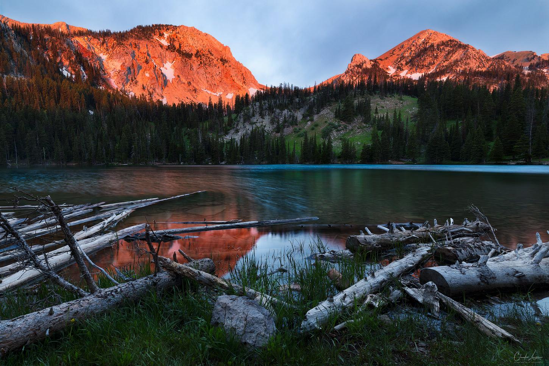 A reflection of Sacagawea Peak in Fairy Lake in Montana.