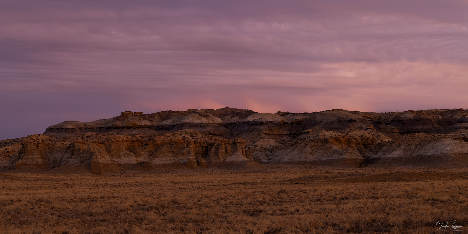 View of Bisti Badlands in New Mexico at sunset.