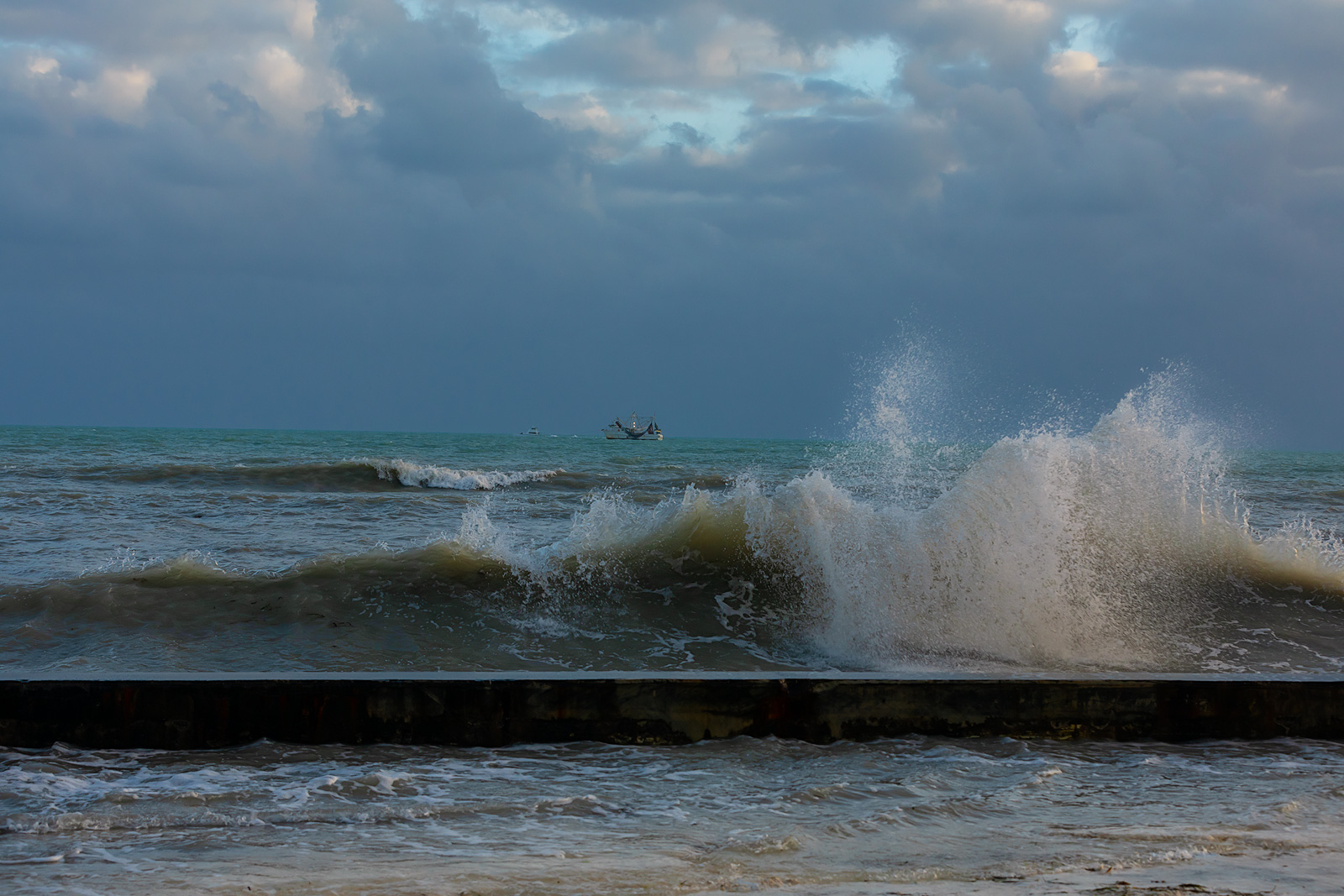 Large waves at Key West's beach on the Florida Keys.
