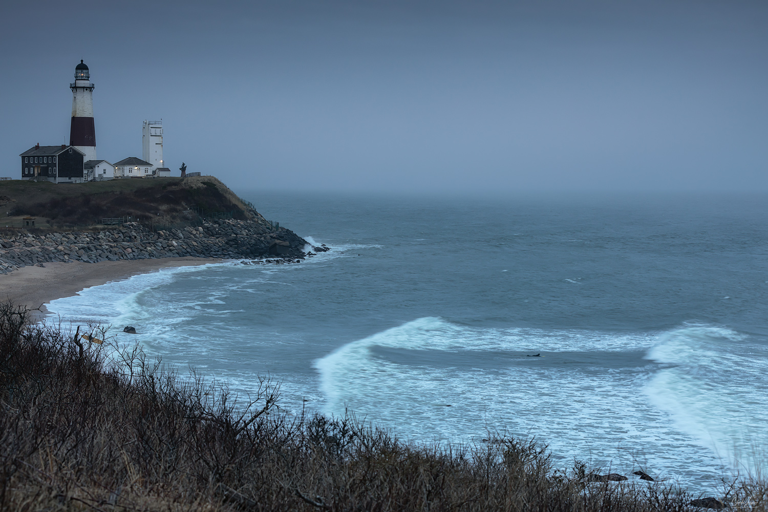 View of Montauk Point Lighthouse in New York.