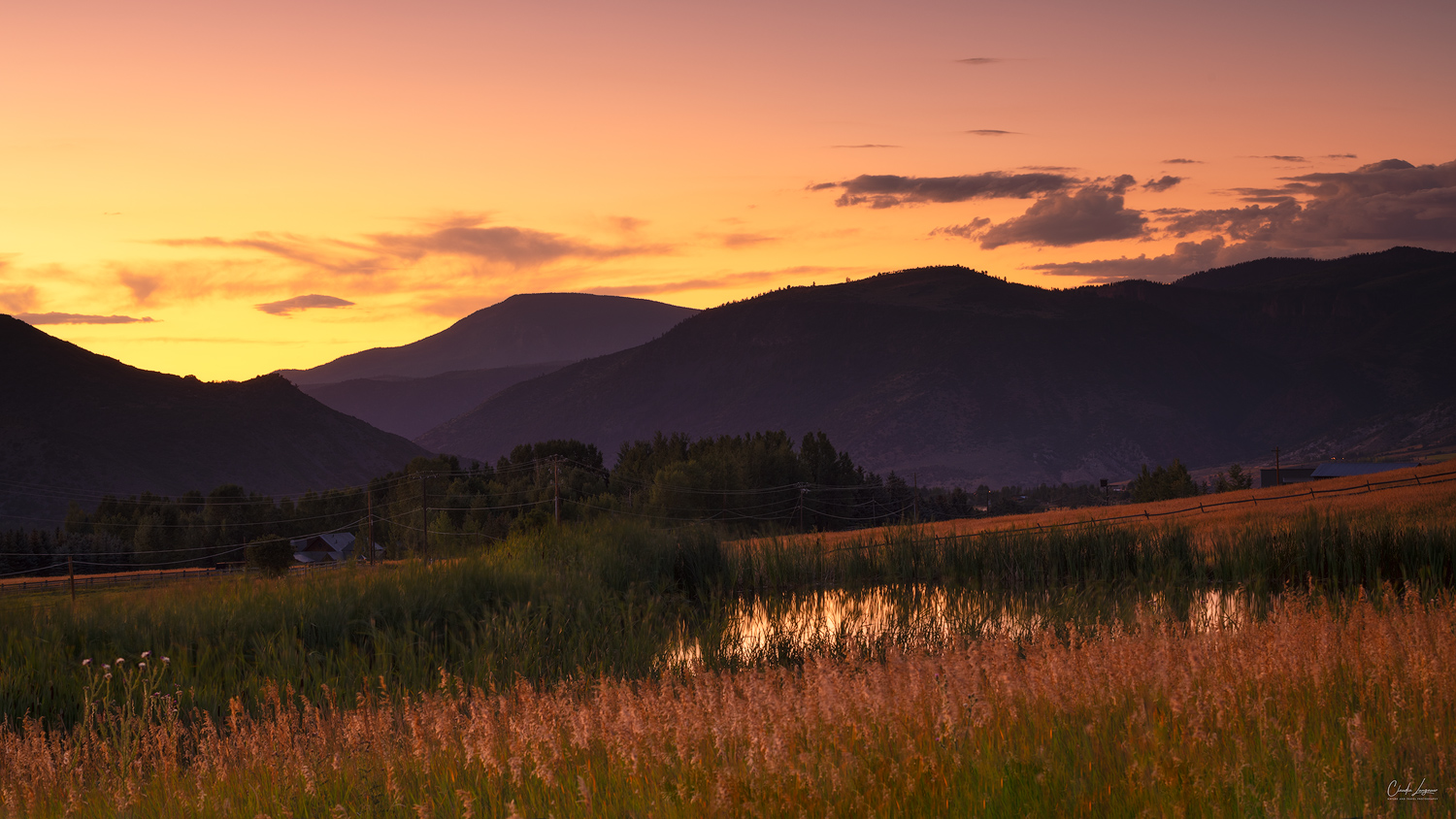 Sunset nearby Woody Creek in Colorado.