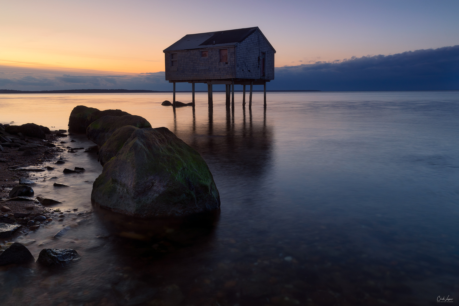 View of the House On Stilts in Long Island in New York at sunset.