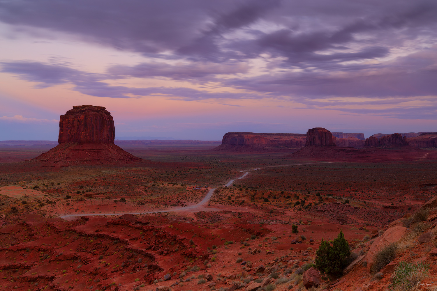 View on the sandstone towers at sunset in Monument Valley on the Arizona-Utah border.