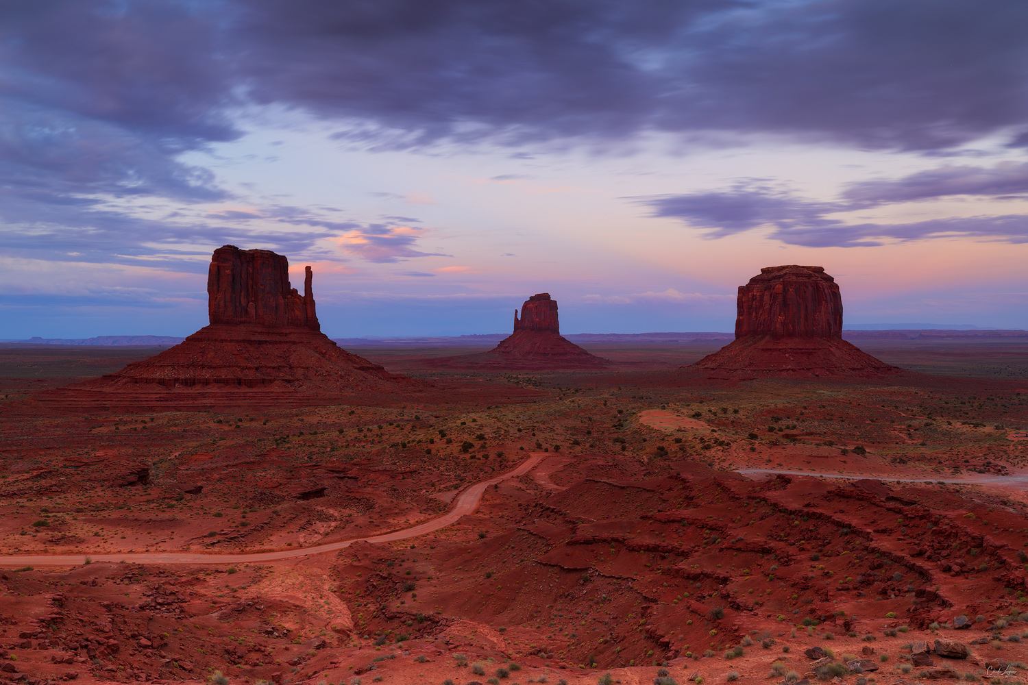 View of the sandstone towers at sunset in Monument Valley on the Arizona-Utah border.