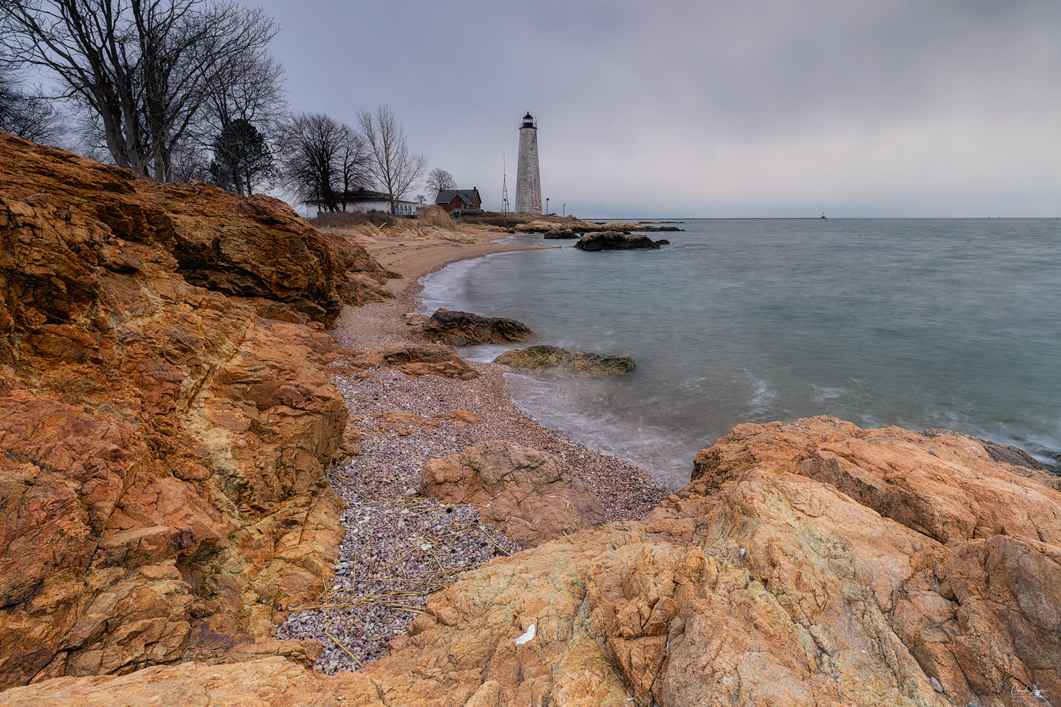 View of New Haven Harbor Lighthouse in New Haven in Connecticut.