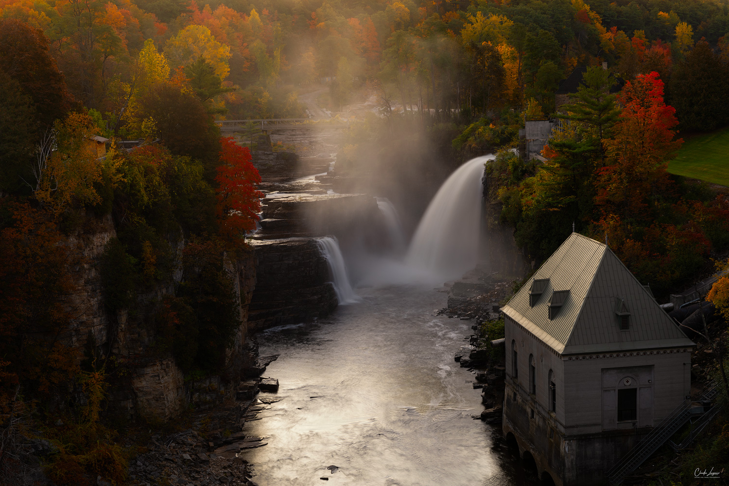 View of Rainbow Falls at Ausable Chasm Upstate New York near the town of Keeseville.