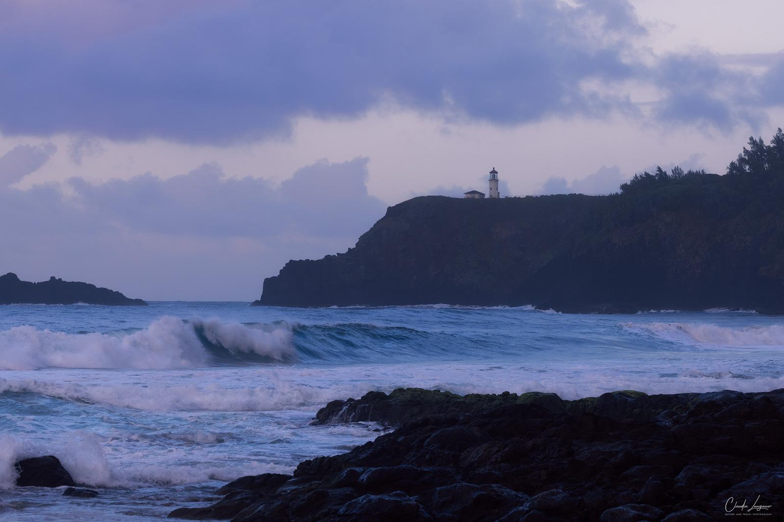Big waves at Secret Beach on the north shore of Kauai island in Hawaii.